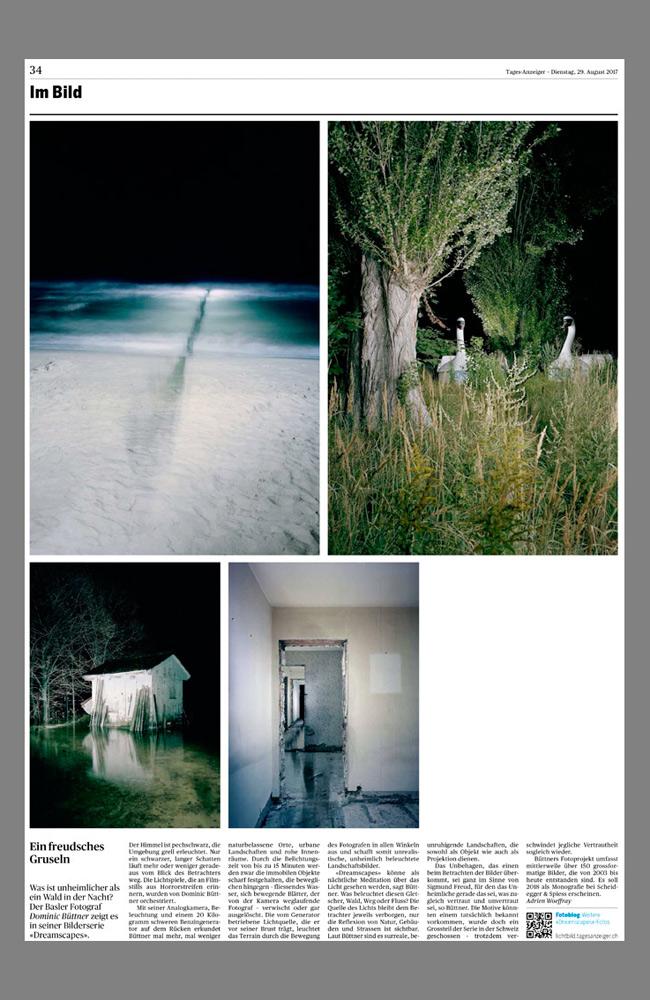 Tages-Anzeiger Seite zur Fotoprojekt Dreamscapes
